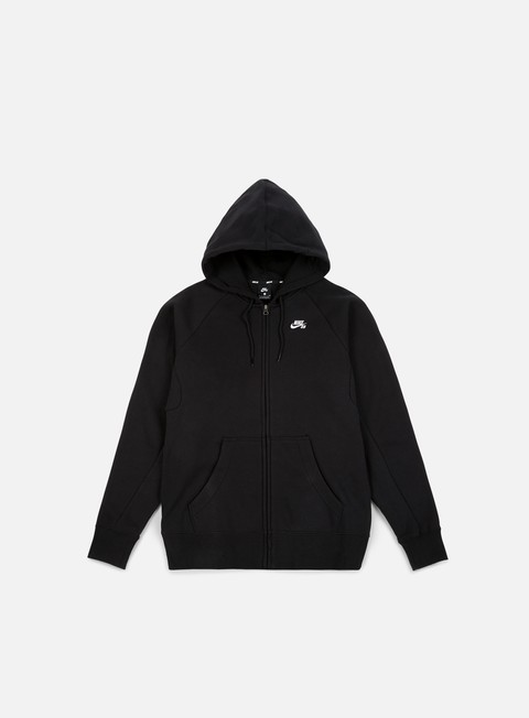 felpe nike sb icon full zip hoodie black white