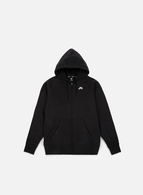 felpe nike sb icon full zip hoodie black white