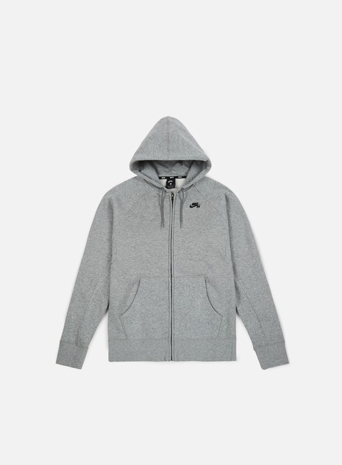 felpe nike sb icon full zip hoodie dark grey heather black