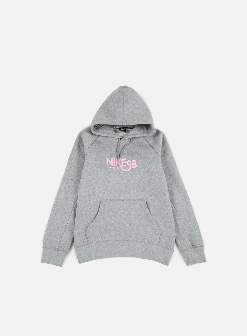 Nike SB - Icon GFX Hoodie, Dark Grey Heather/Prism Pink