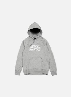 Nike SB - Icon Griptape Hoodie, Dark Grey Heather/White 1