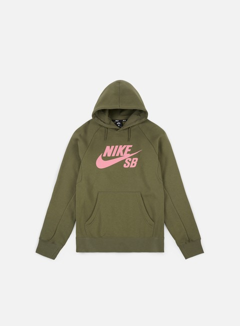 felpe nike sb icon hoodie medium olive elemental pink