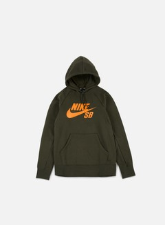Nike SB - Icon Hoodie, Sequoia/Circuit Orange 1