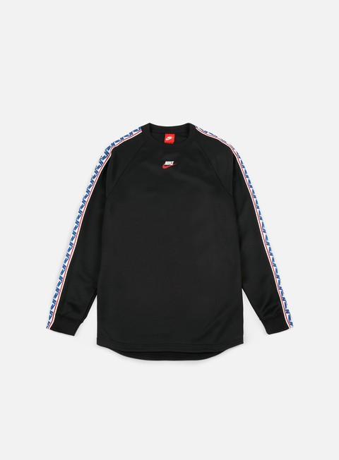 felpe nike taped ls crewneck black sail