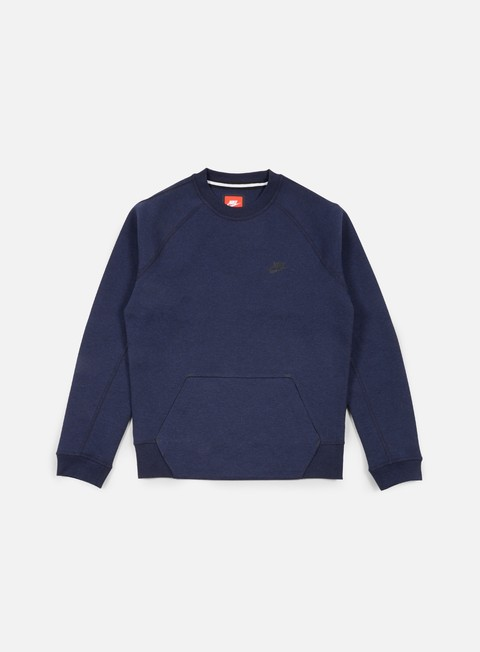 felpe nike tech fleece crewneck obsidian heather black
