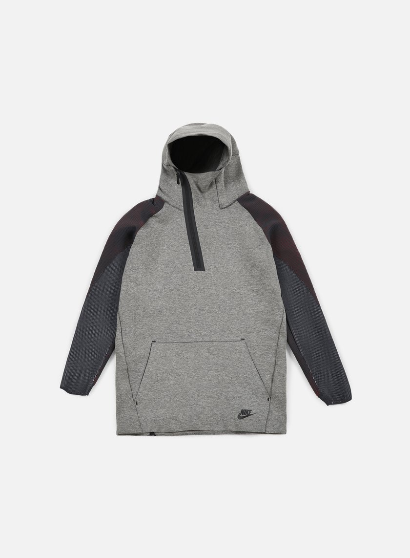 Nike - Tech Fleece Half Zip Hoodie, Carbon Heather/Black