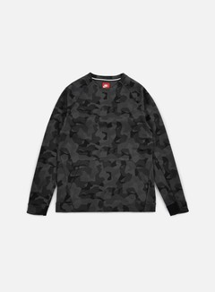 Nike - Tech Fleece LS Crewneck AOP, Anthracite/Black