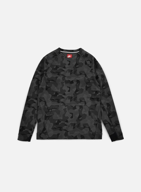 felpe nike tech fleece ls crewneck aop anthracite black