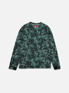Nike - Tech Fleece LS Crewneck AOP, Hasta/Black