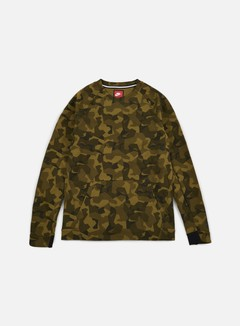 Nike - Tech Fleece LS Crewneck AOP, Olive Flak/Black 1