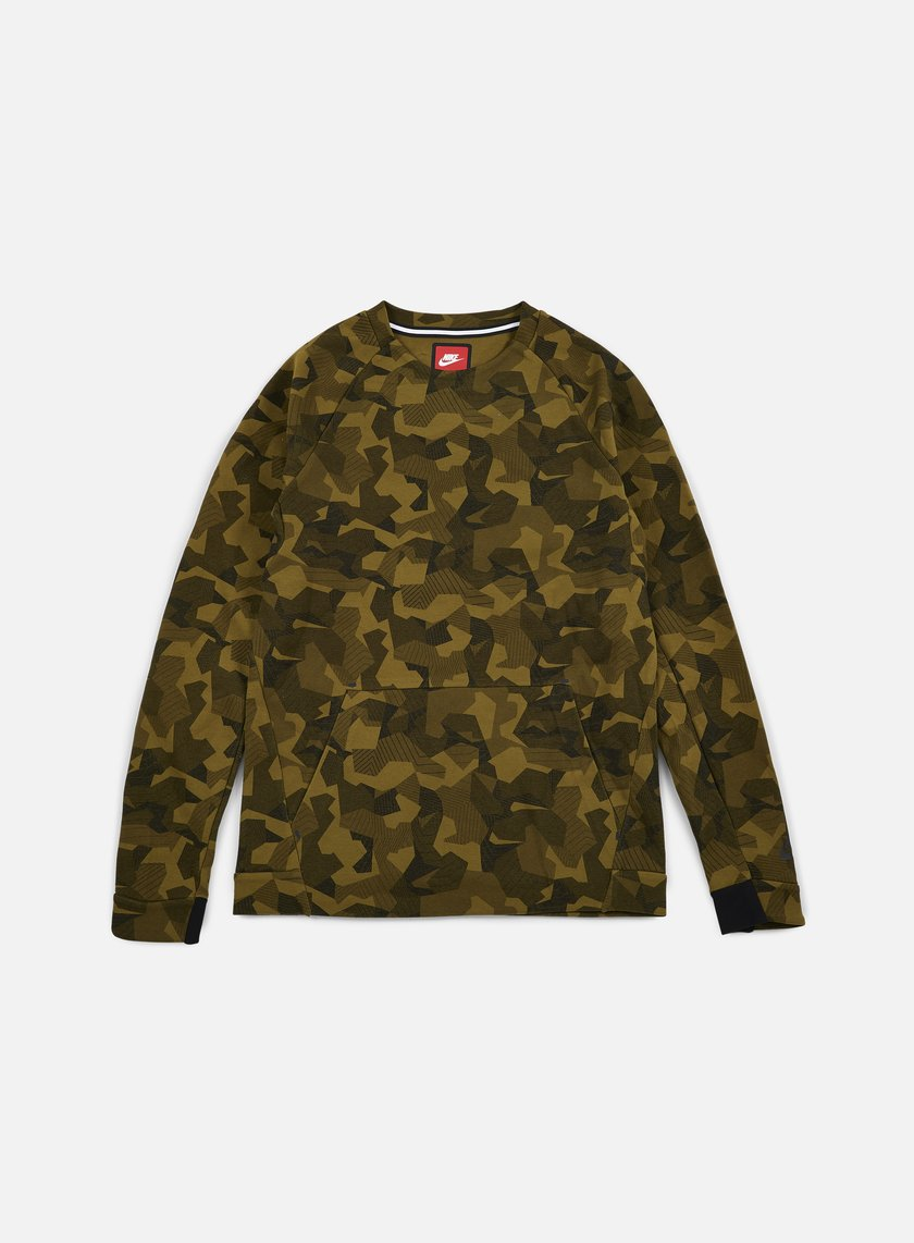 Nike - Tech Fleece LS Crewneck AOP, Olive Flak/Black