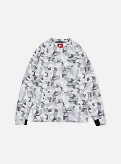 Nike - Tech Fleece LS Crewneck AOP, White/Black