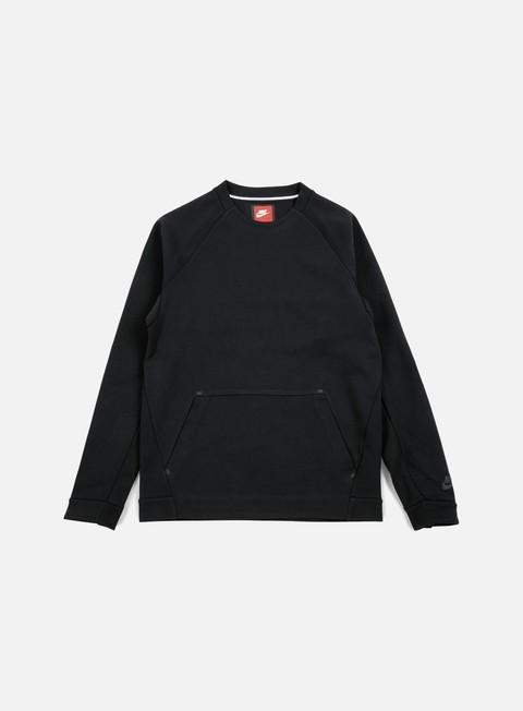 felpe nike tech fleece ls crewneck black black