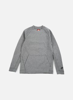 Nike - Tech Fleece LS Crewneck, Carbon Heather/Black