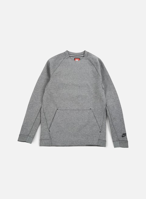 felpe nike tech fleece ls crewneck carbon heather black