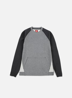 Nike - Tech Fleece LS Crewneck, Carbon Heather/Black Heather