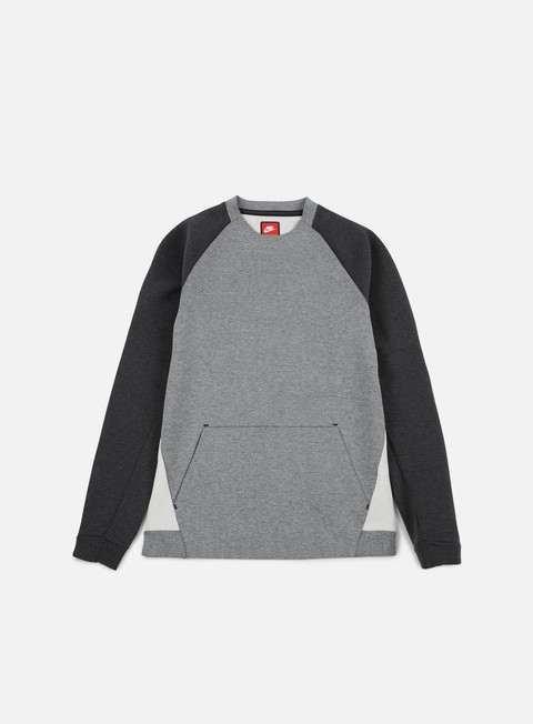 felpe nike tech fleece ls crewneck carbon heather black heather