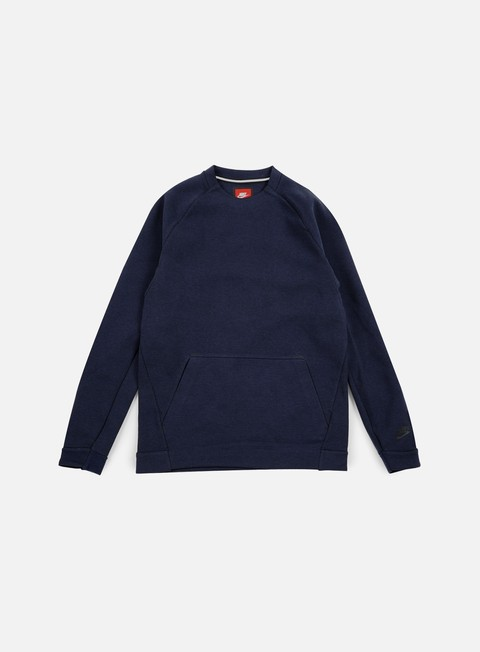 felpe nike tech fleece ls crewneck obsdian heather black