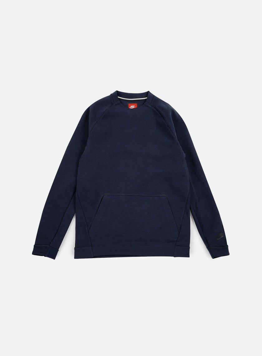 Nike - Tech Fleece LS Crewneck, Obsdian Heather/Black
