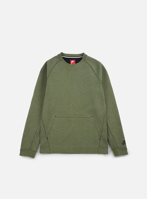 felpe nike tech fleece ls crewneck palm green heather black