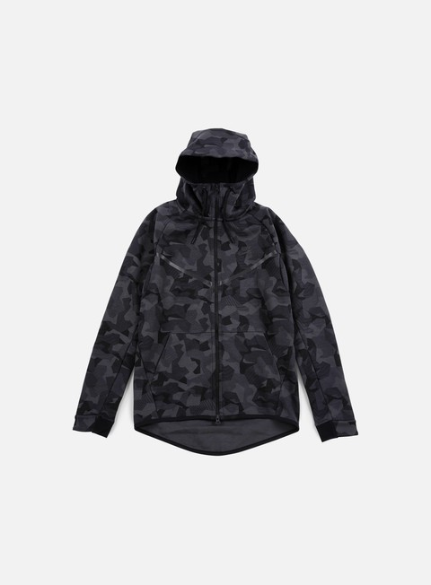 felpe nike tech fleece windrunner hoodie aop anthracite black