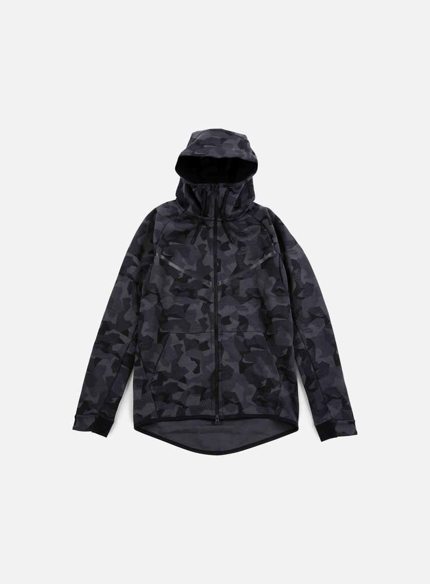 Nike - Tech Fleece Windrunner Hoodie AOP, Anthracite/Black