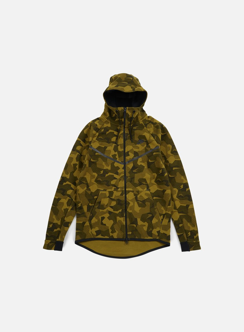 Nike - Tech Fleece Windrunner Hoodie AOP, Olive Flak/Black