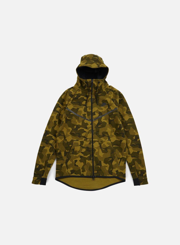 Nike - Tech Fleece Windrunner Hoodie AOP, Olive Flak/Black