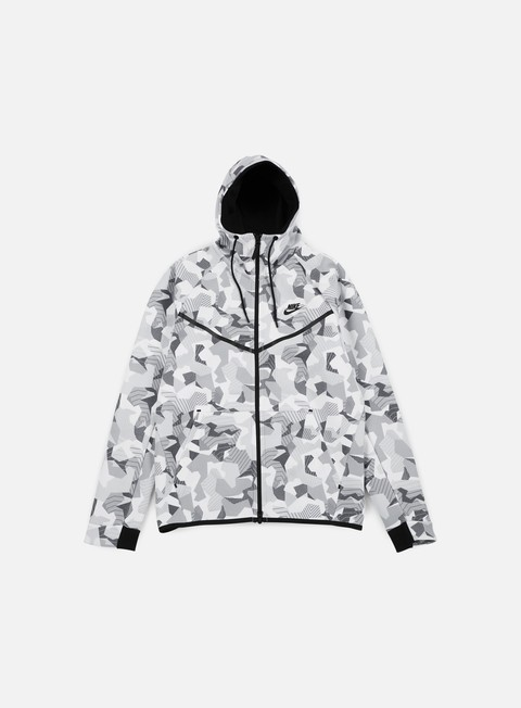 felpe nike tech fleece windrunner hoodie aop white black
