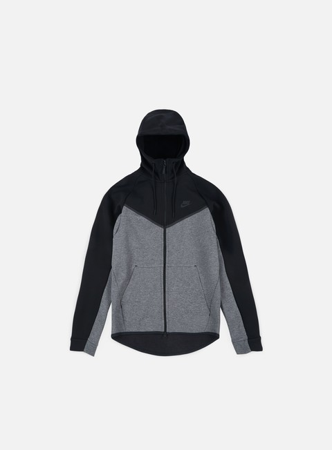 felpe nike tech fleece windrunner hoodie black charcoal heather black
