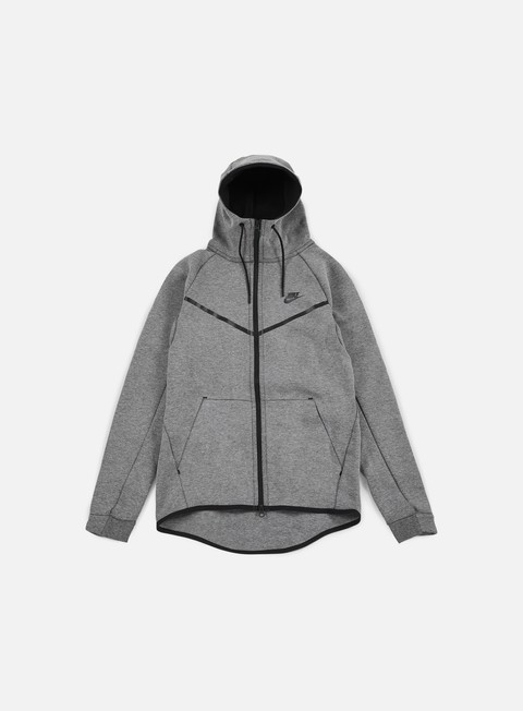 felpe nike tech fleece windrunner hoodie carbon heather black