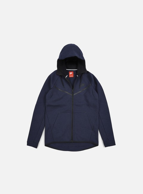 felpe nike tech fleece windrunner hoodie obsidian heather black