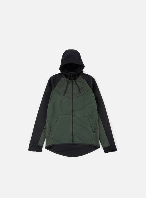 felpe nike tech fleece windrunner hoodie outdoor green black black heather