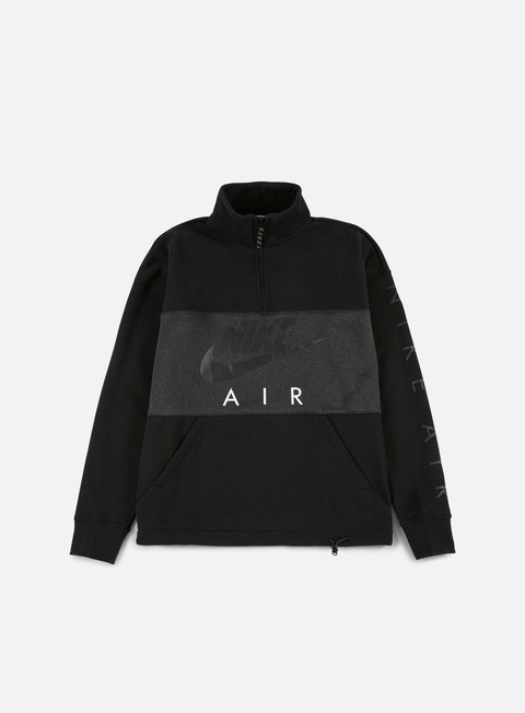 felpe nike top air half zip fleece black anthracite