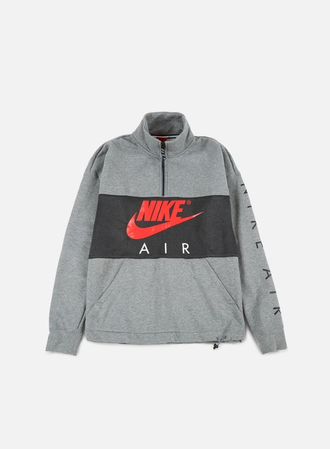 felpe nike top air half zip fleece carbon heather anthracite