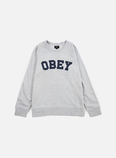 felpe obey academy crewneck athletic heather grey
