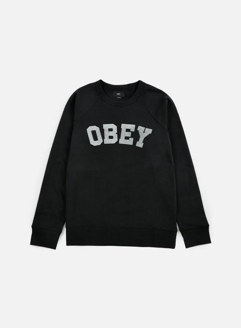 felpe obey academy crewneck black