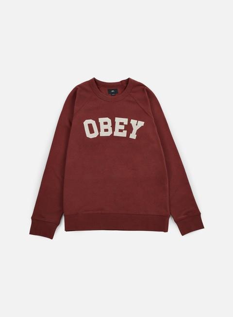 felpe obey academy crewneck burgundy