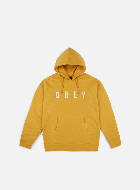 felpe obey anyway hoodie ochre white
