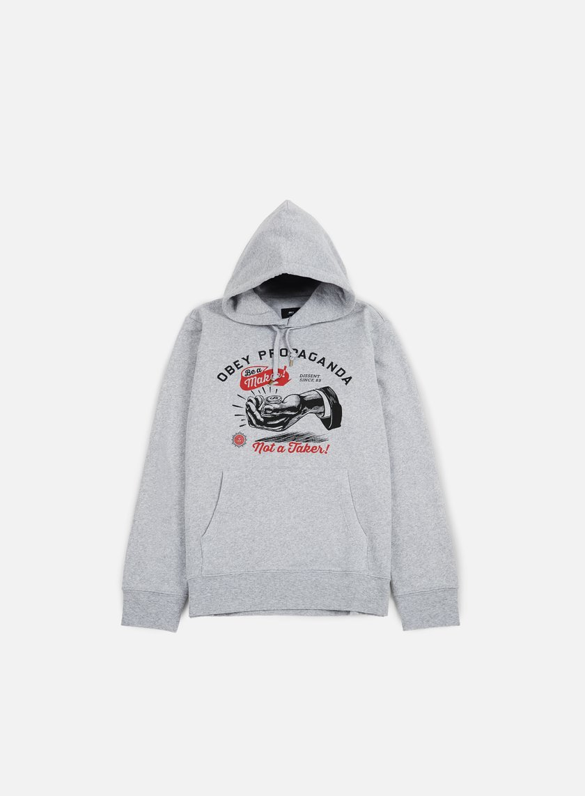 Obey - Be A Maker Hoodie, Athletic Heather Grey