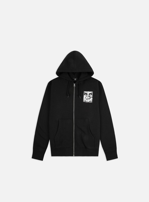 Hooded Sweatshirts Obey Cracked Icon Premium Zip Fleece Hoodie