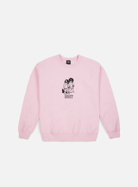 felpe obey curious kiddo s crewneck light pink