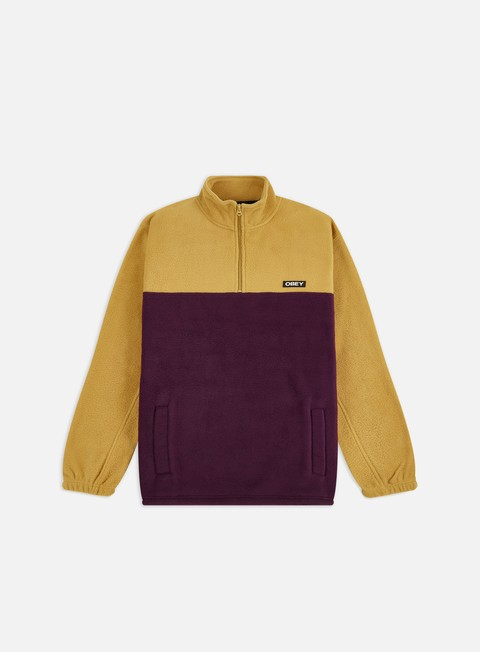 Sweaters and Fleeces Obey Eulogy Mock Neck Zip Fleece