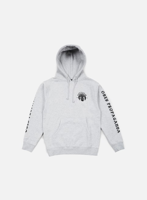 felpe obey freedom cuffs hoodie heather grey