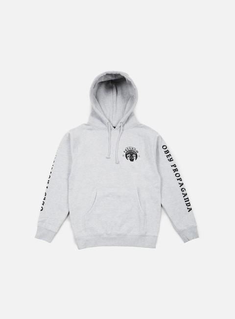 felpe obey freedom cuffs hoodie heather grey
