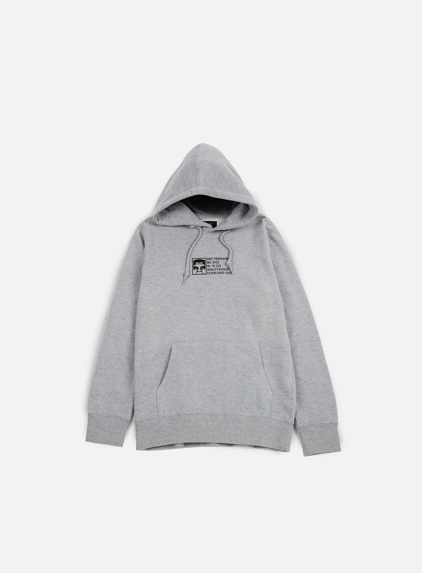 Obey - Half Face Mil Spec Hoodie, Heather Grey