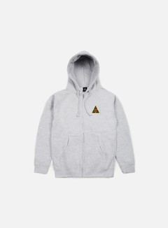 Obey - Huf Icon Face Zip Hoodie, Heather Grey