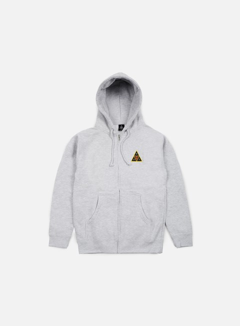 felpe obey huf icon face zip hoodie heather grey