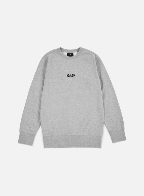 felpe obey jumble bars crewneck heather grey