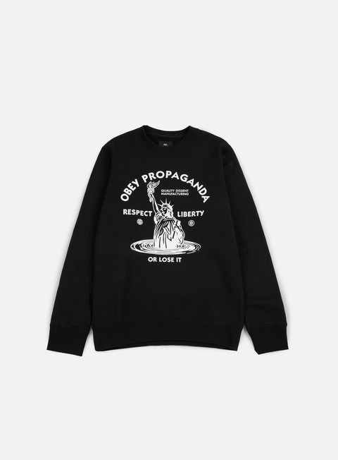 felpe obey lady liberty crewneck black